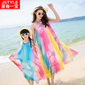 family look clothing 2016 new summer beach skirt rainbow silk bohemian matching mom baby mother and daughter clothes dresses