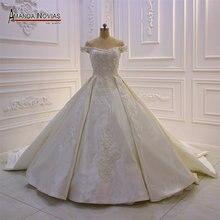 Свадебное атласное платье с лямками, robe de mariage 2019