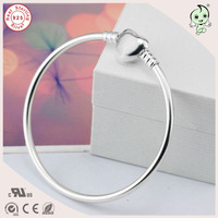 Best Quality Fashion 925 Sterling Silver Bangle With Heart Clasp Fits European Silver Charm Beads