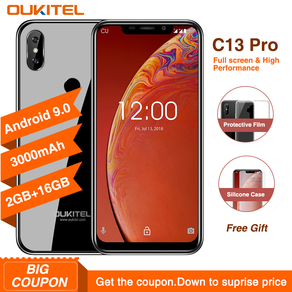 "OUKITEL C13 Pro 5G/2.4G WIFI Android 9.0 MT6739 Quad Core 4G Smartphone 6.18"" 19:9 2GB 16GB Face ID Fingerprint Mobile Phone"