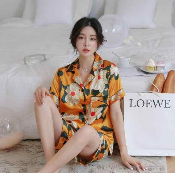 גבוהה כיתה משי פיג 'מה נשים קצר שרוול הדפסת שינה סט פיג' מה הלבשת של תלמיד חדש מכנסיים קצרים nightwear נקבה pyjama