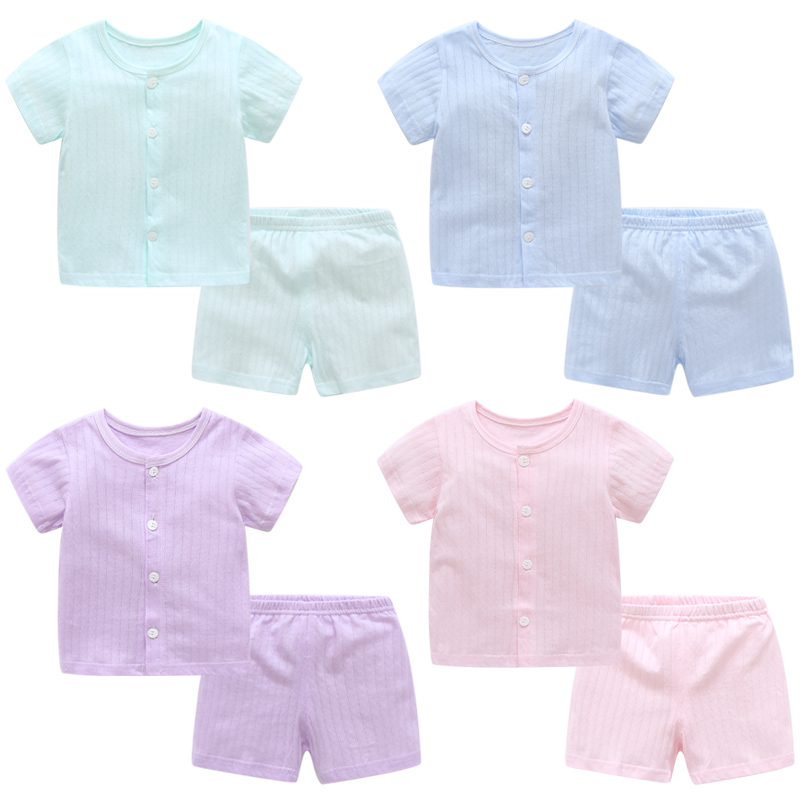 цена на Baby clothes baby summer suit female short-sleeved two-piece cotton boy wear summer FREE