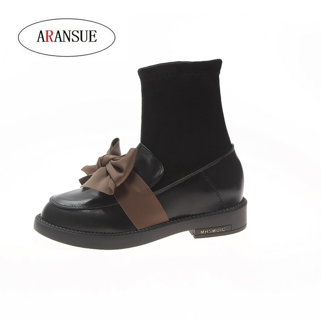 ARANSUE 2018 winter woman hot sale british style rmall leather shoes fashion personality flat bottom retro bow tie Women's Boots