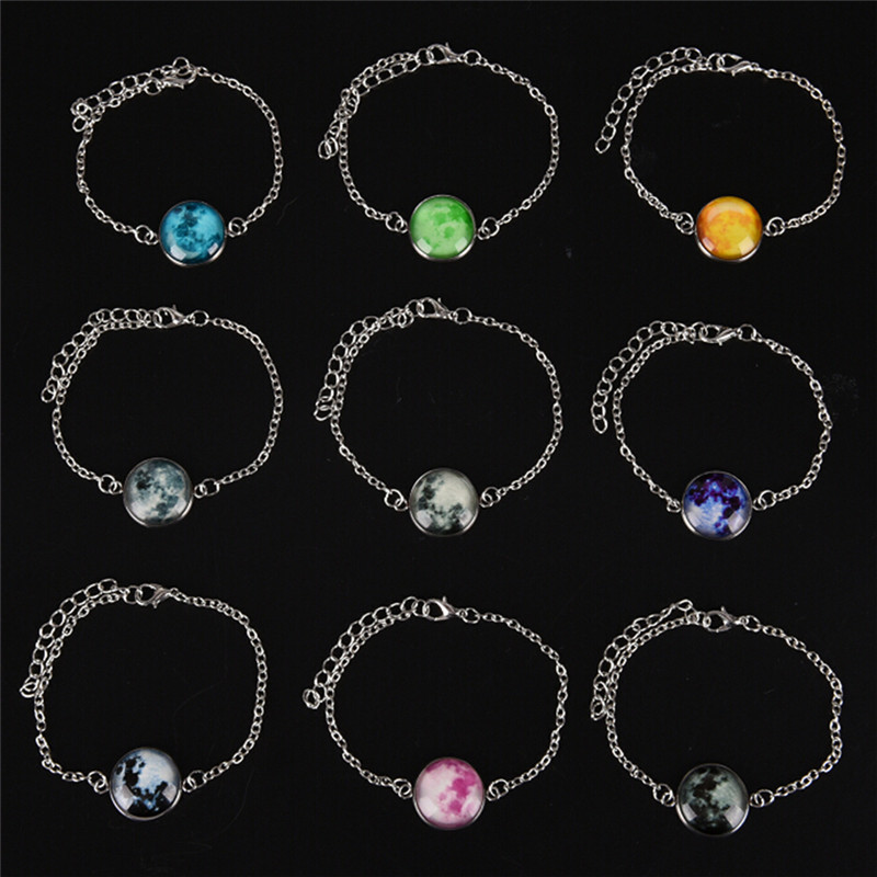 22cm Solar System Planets E Moon Glow In The Dark Bracelet Charm Astrology Jewelry Universe Galaxy Bangle Gift Chain Link Bracelets From