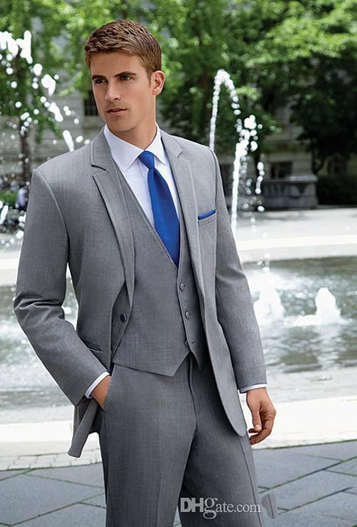 Folobe terno masculino por encargo novio esmoquin gris claro padrinos boda  trajes novio chaqueta pantalones chaleco 30c42e325b8