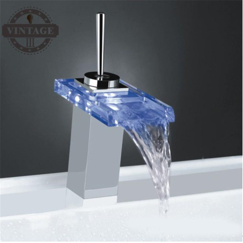 Color Changing LED Water Bathroom Sink Faucet Tap with Glass Spout (Waterfall)