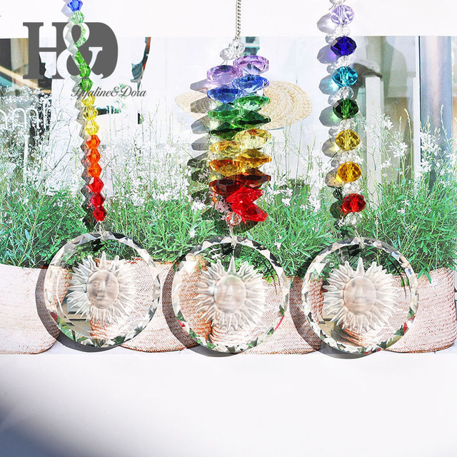 H D Chandelier Crystals Prisms Rainbow Chakra Suncatcher With Beads Decorating Hanging Ornament Set