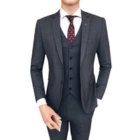 Two Buttons Slim Fit Suits 3 Pieces Suits(Jacket+Pants+Vest) Men Suits Notched Collar Wedding Groom Wedding Party Tuxedos