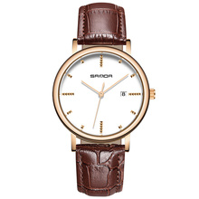 hot deal buy 2018 leather bussiness men's watches top brand luxury fashion quartz watches men complete calendar wrist watch erkek kol saati