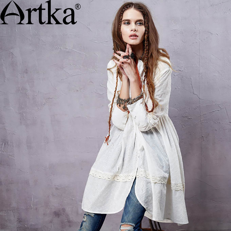 ARTKA Women s Elegant Bohemian Medium Style Stand Collar Pleated Swing Hem Long Sleeve Cotton Shirt
