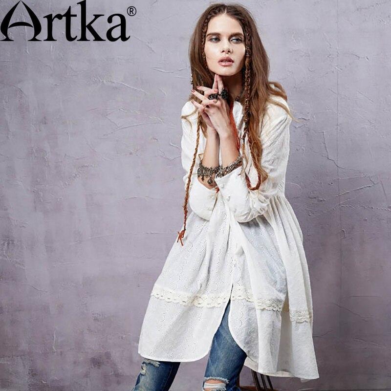 ARTKA femmes élégant bohème Style moyen col montant plissé balançoire ourlet manches longues coton chemise SA14152C
