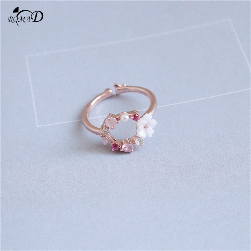 Pink zircon pearl flower decor stainless steel Rings For Women European Original Wedding Fashion Brand Ring Jewelry Gift A40 in Rings from Jewelry Accessories
