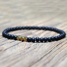 Pulseira de contas pequenas masculina, bracelete de 4mm natural congelado, para homens, minimalista, legal, bijuteria para yoga