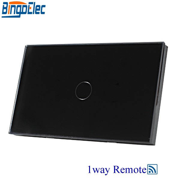 Bingoelec Black Glass Touch Sensor Switch,1gang 1way Remote Wall Touch Switch, AU/US Standard, AC110-250V,RF433 Remote Switch