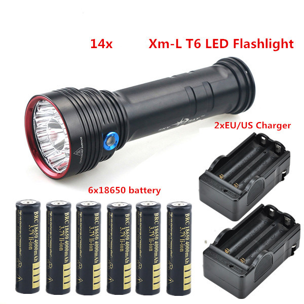 Best 20000 LM 14x xml T6 LED Flashlight Torch Hunting Strong light Camping +18650 Battery + Charger tinhofire t3 t4 t5 t6 t7 t8 t9 t10 t11 t12 cree t6 led 4000 20000 lm led torch camping flashlight lamp with battery and charger