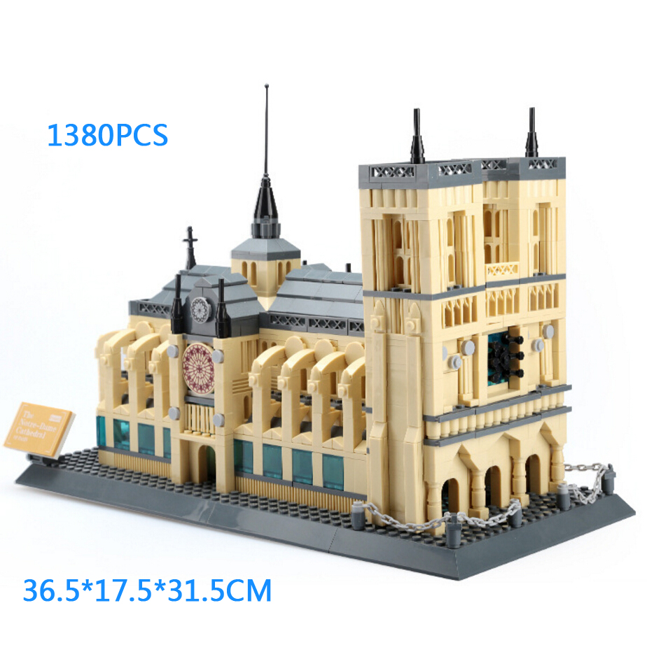 цена на World historical and cultural architecture Notre-Dame de Paris france building block model bricks educational toys for gifts