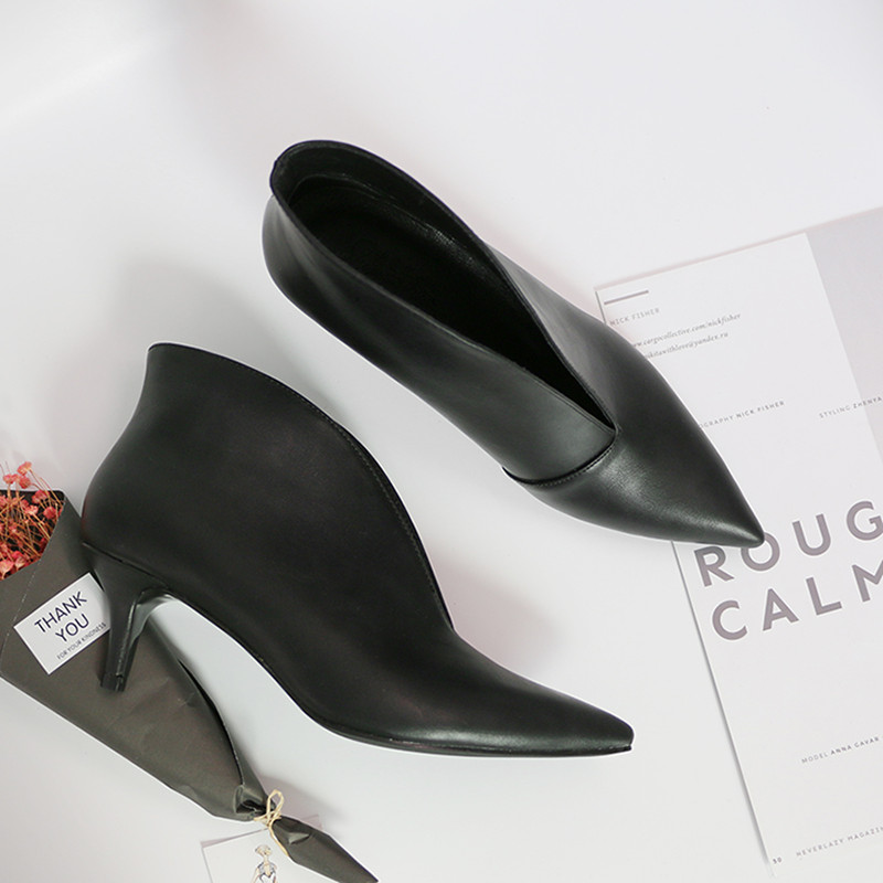 Fashion high heels black Matte leather women shoes Tip head v mouth autumn winter Heels Female pumps high-heeled bare boots winter autumn high quality pu high heels women sexy v mouth high top high heeled shoes ladies stiletto pumps ankle boots woman