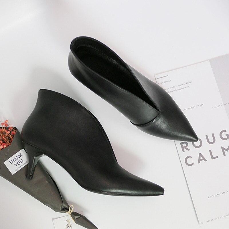 Mode Bouche Pointe Femmes Black Noir À Bottes 1 2 black Chaussures Mat Talons Cuir Hauts En Hiver Tête V Automne Pompes Nues rxSBgwrPq