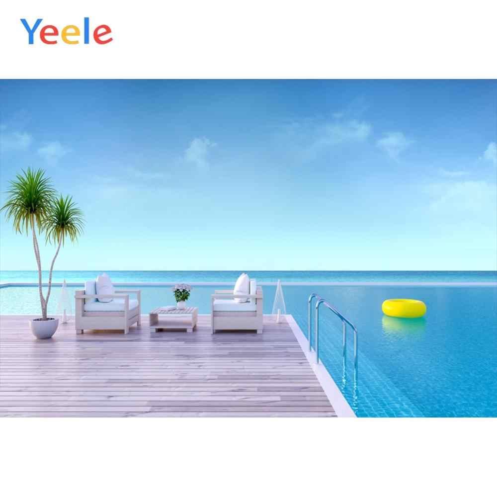 Yeele голубое небо бассейн кольцо диван пол летняя фотография фоны индивидуальные фотографические фоны для фотостудии