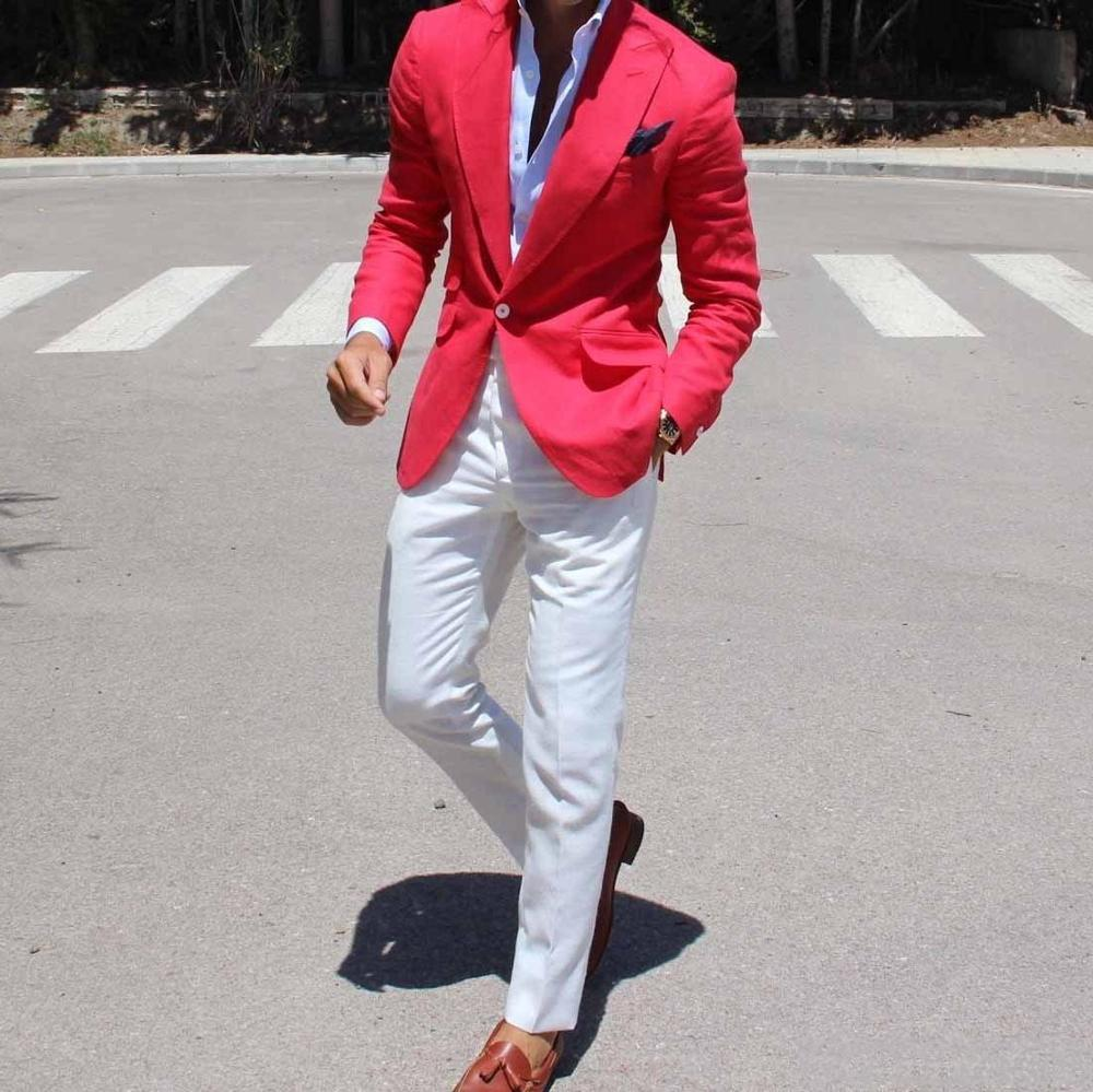 Latest Coat Pants Designs Red Coat With White Pants Mens Wedding Suits Male Slim Fit Custom Made Business Groom Man Suit Terno