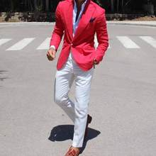 Latest Coat Pants Designs Red Coat With White Pants Mens Wedding Suits Male Slim Fit Custom Made Business Groom Man Suit Terno(China)