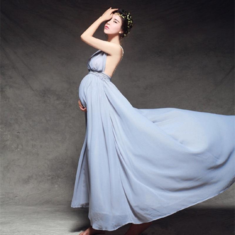 Robe de soirée enceinte bleu mignon accessoires de photographie de maternité robe de mariée en mousseline de soie maternité