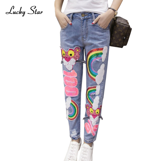2016 европа мода радуга шаблон блесток джинсы mujer разорвал жан boyfriend джинсы для женщин flare отверстие pantalones вакеро p008