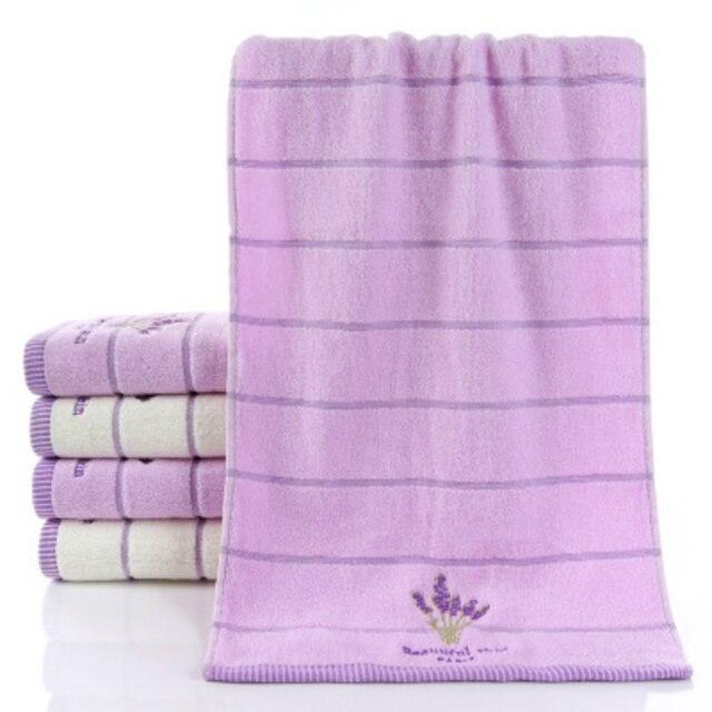 Ricamo In puro Cotone Morbido Asciugamano Viso Asciugamano Per Adulti alta Assorbente Casa Albergo Uso di Fiori di Lavanda Tè Verde 34*73 cm 1 PZ