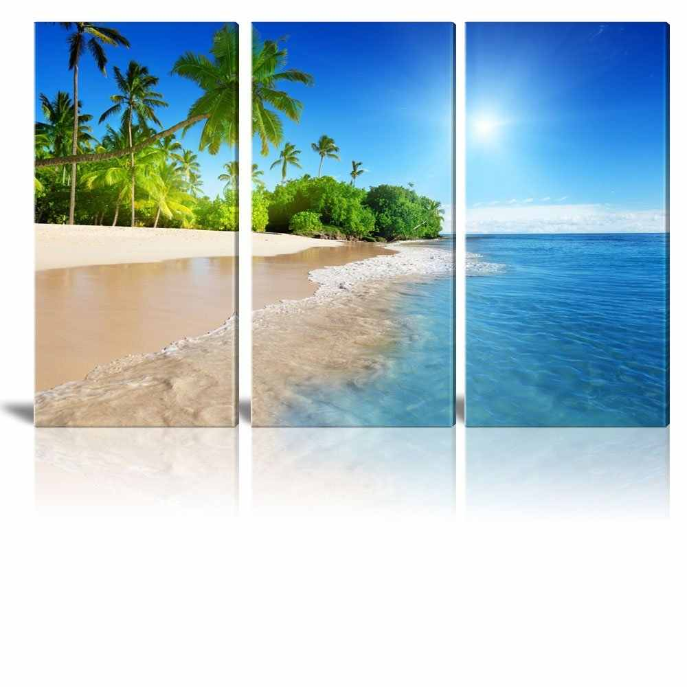 3 Panel Tropical Beach Sea Waves Art  Poster Print Landscape Wall Picture Home Room Decor painting