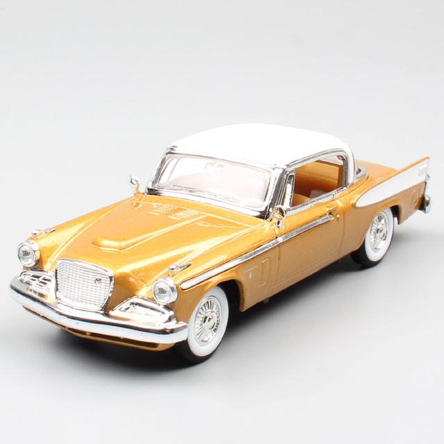 1:43 Scale small kids luxury 1958 Studebaker Golden Hawk V8 vintage coupe diecast metal cars models vehicles old miniatures toys