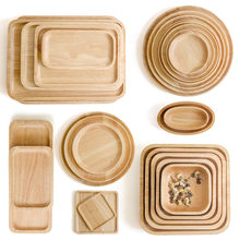 Rubber Wood Pan Plate Fruit Dishes Saucer Tea Tray Dessert Dinner Bread Wood Plate Japanese Round/Rectangle/Square/Oval Shape(China)