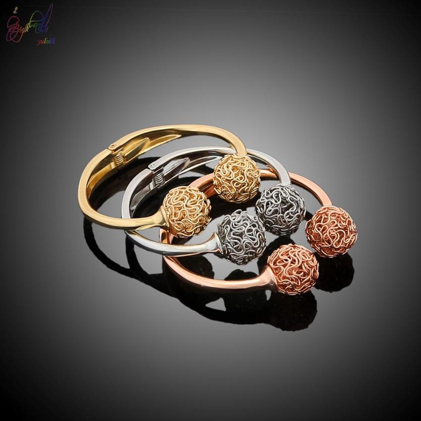 YULAILI 2018 nouveauté alliage matériau trois tons couleur or Bracelets Bracelets pour femmes - 4