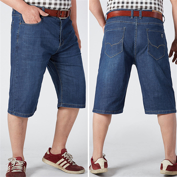 2017 Summer Men's Short Jeans Casual Fashion Straight Loose Pant Man Blue Denim Pants Solid Plus Size Stretch Trousers X1030A