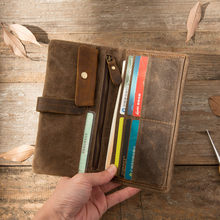 2018 New Original Brand Vintage style mens waxed waterproof Cowhide nature skin womens Long Cards holders clutches wallets