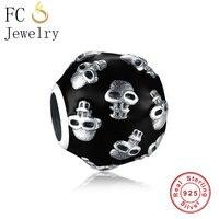 Оригинальный браслет Pandora Charms из стерлингового серебра 925 пробы, черный череп, бусины для лица, для рукоделия, для женщин и мужчин, Berloque, оптов...