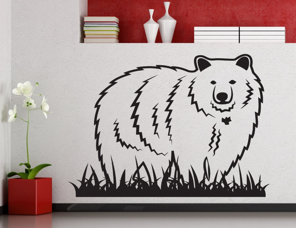 ᗗblanc Ours Stand Avec Herbe Silhouette Stickers Muraux Vinyle