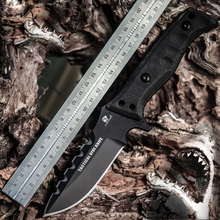 Outdoors Camping Full Tang Tactical Hunting Knife Fixed Sawback Bowie Survival Rescue Knife Tie Up Handle 1759#