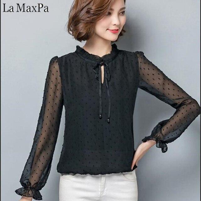 04ab2809f4 LA MAXPA Lace Chiffon Blusa Mulheres Moda Plissado Camisa Gola Laço Das  Mulheres Malha Top De