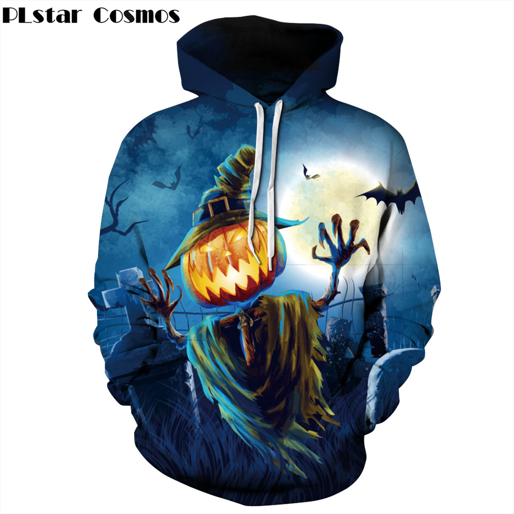 PLstar Cosmos 2018 Autumn New Halloween Men/Women Hoodies 3d Sweatshirts Print Funny Pumpkin lantern Thin Hoody Tracksuits