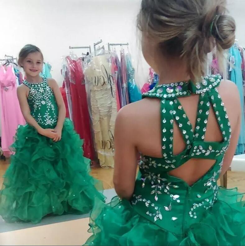 Custom Made Ball Gown Flower Girl Dresses Beaded Sequins Halter Neck Floor Length Organza 2016 Cheap Girls Pageant Dresses lovely new puffy flower girl dresses beaded overskirts floor length first communion dress pageant birthday gown 2017 custom new