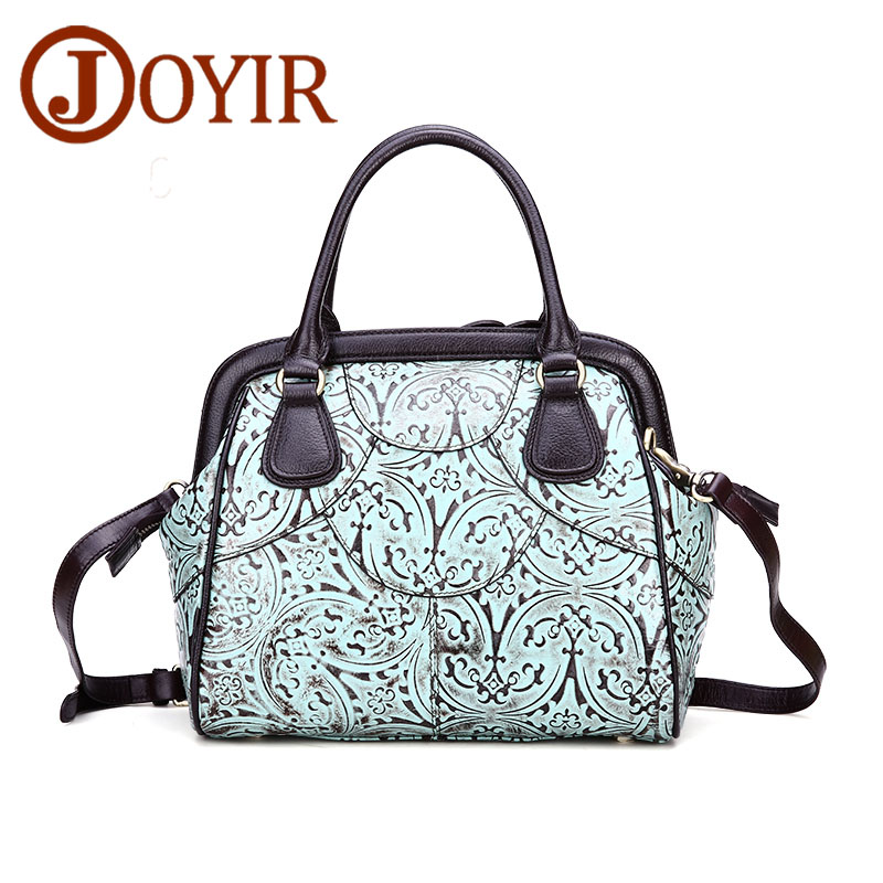 JOYIR Luxury Handbag Women Bags Designer Genuine Leather Handbags Floral High Quality Tote Bag Shoulder Bags Bolsa Feminina 8521 women messenger bags designer handbags high quality 2017 new belt portable handbag retro wild shoulder diagonal package bolsa