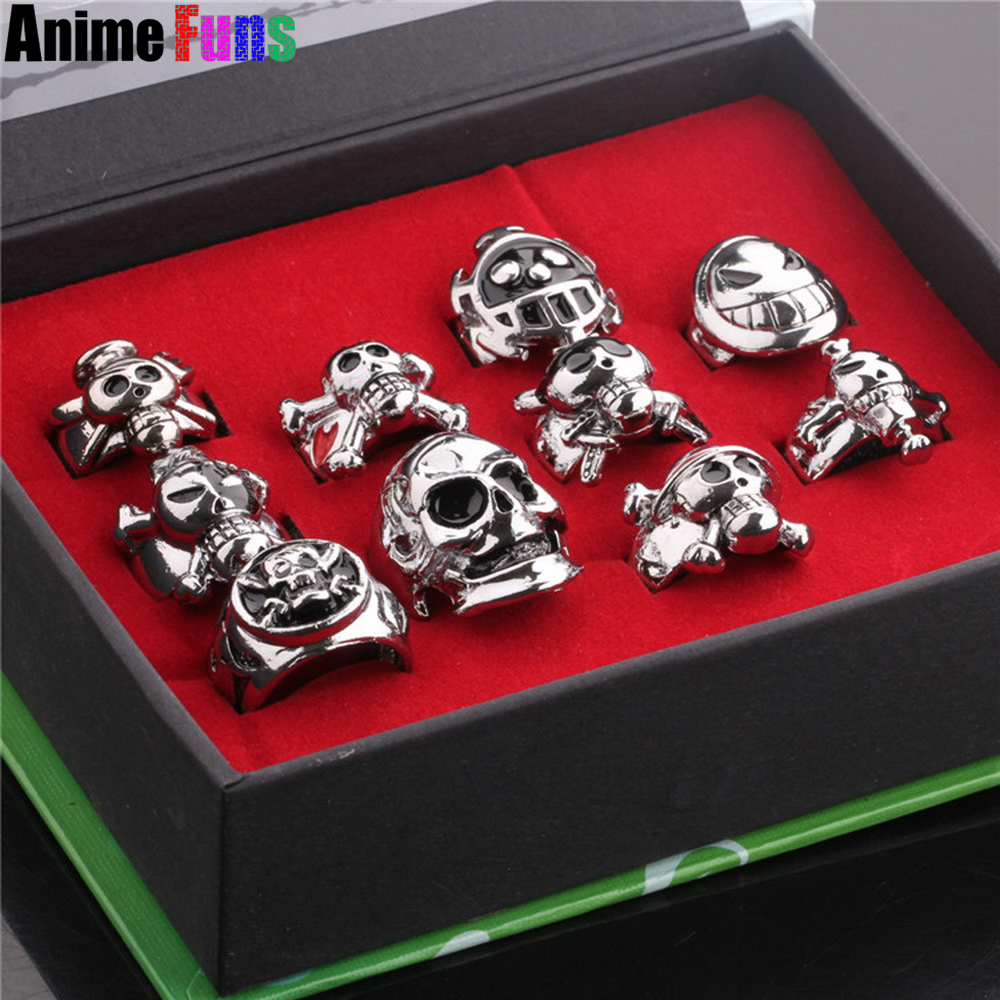 1 set (10pcs/set) Anime One Piece Luffy Skull Logo Cosplay Ring Set for women men lover Charm Cosplay Birthday Jewelry drop-ship цена