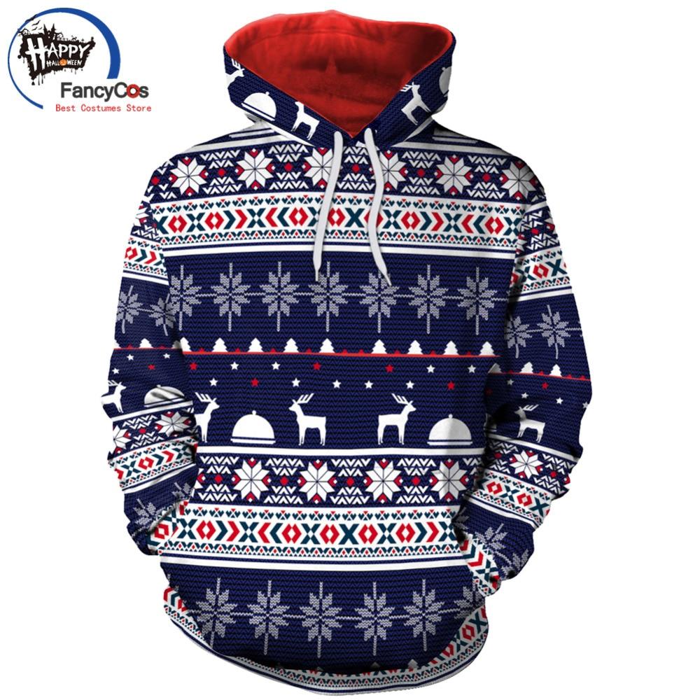 2018 New Sale Autumn Winter Hoodie Christmas Snowflake Casual digital print hoodie Santa Tops Festive Gift Print Cotton