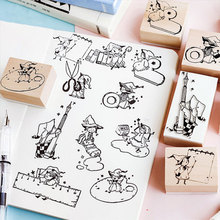 Vintage Lilliput series wood stamp DIY craft wooden rubber stamps for scrapbooking stationery standard