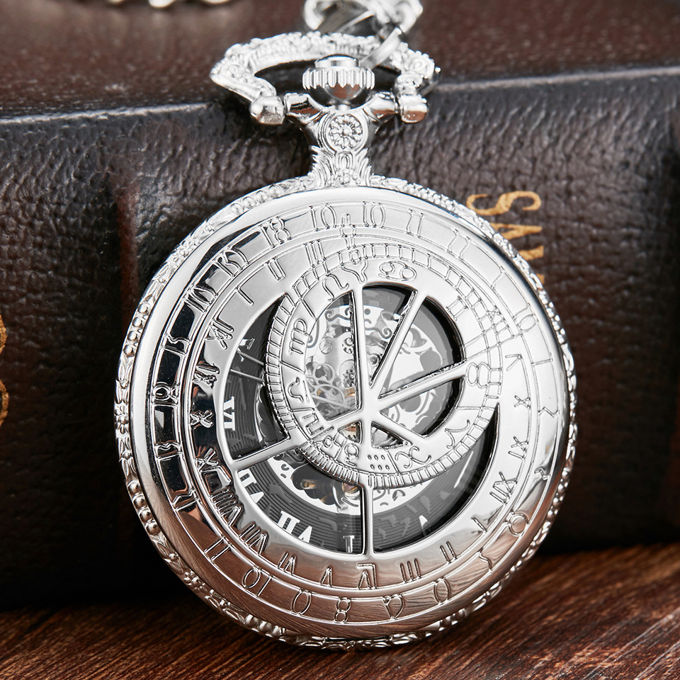 Retro Silver Doctor Who Hollow Design Mechanical Pocket Watch Men Chains Roman Dial Skeleton Hand Wind Pocket Watches Mechanical