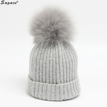 Sagace Women Autumn Winter Charming Crochet Hat Fashion Fur Crown Knitted Wool Beanie Fox Hair Warm Cap Lady Girl Skullcap Aug24