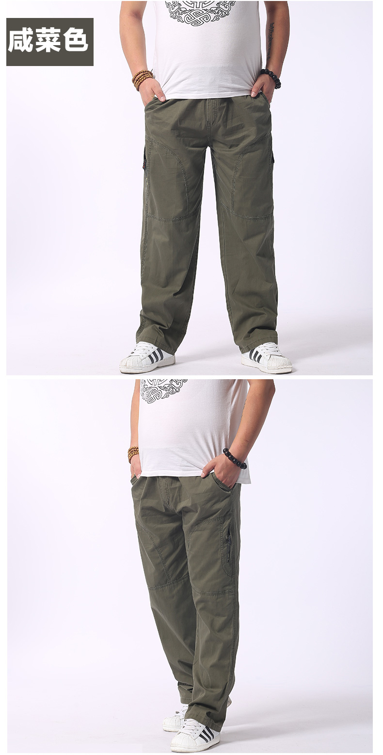 Man Loose Fitting Cargo Pants Yellow Black Gray Khaki  Overall For Mens Cotton Comfort Trousers Elastic Waist Pant American Apparel (7)