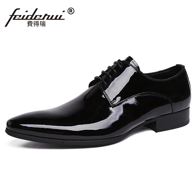 Italian Formal Designer Man Dress Shoes Patent Leather Wedding Oxfords Famous Luxury Pointed Derby Men's Business Footwear XE95 gadeeraroo new fashion lace up pointed toe medium genuine patent leather business formal casual oxfords shoes for man