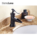 Oil rubbed Bronze Waterfall Centerset Bathroom Sink Faucet