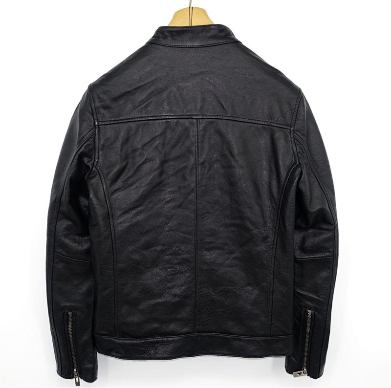 Highend mans echte koe lederen jas korte motorjas voor volwassen mannelijke vintage afwerking kort zwart plus oversized 4xl - 4